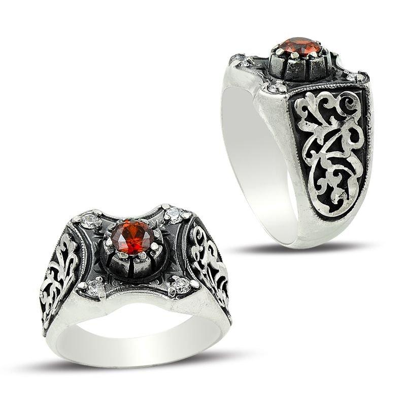 Erzurum El İşi Kırmızı Zirkon Taşlı Gümüş Yüzük
