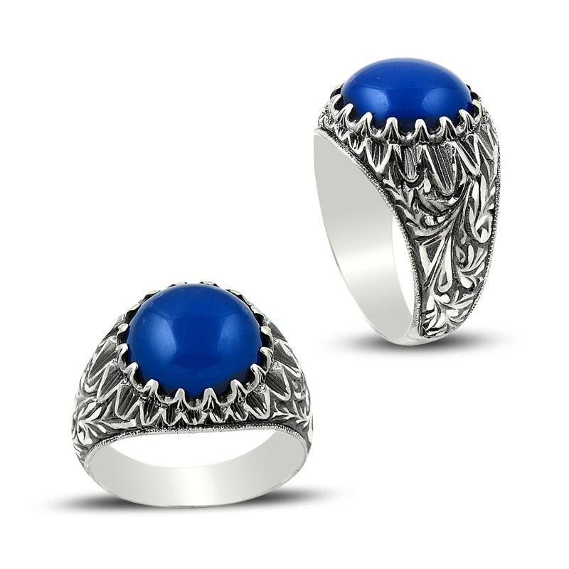 Erzurum El İşi Mavi Akik Taşlı 925 Ayar Gümüş Yüzük