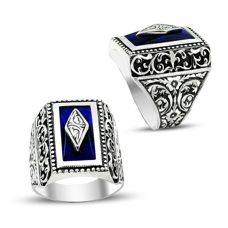 Erzurum El İşi Mavi Mineli 925 Ayar Gümüş Yüzük