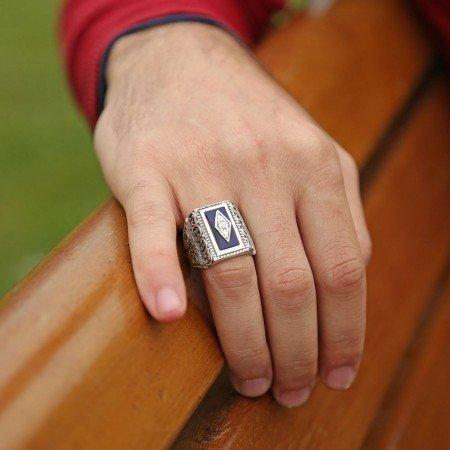 Erzurum El İşi Mavi Mineli 925 Ayar Gümüş Yüzük - Thumbnail