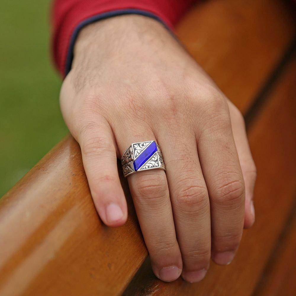 Erzurum El İşi Mavi Mineli Gümüş Yüzük