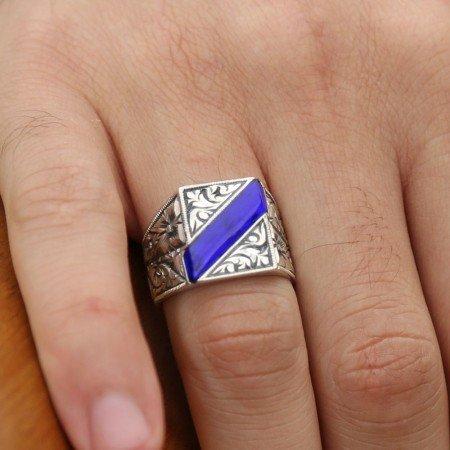 Erzurum El İşi Mavi Mineli Gümüş Yüzük - Thumbnail