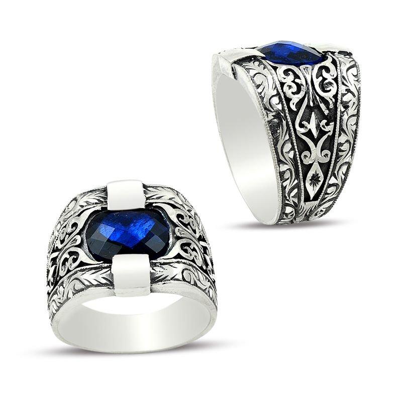 Erzurum El İşi Mavi Zirkon Taşlı Gümüş Yüzük