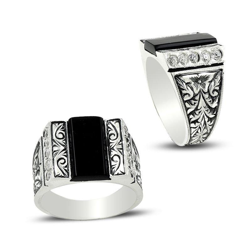 Erzurum El İşi Mine ve Zirkon Taşlı Gümüş Yüzük