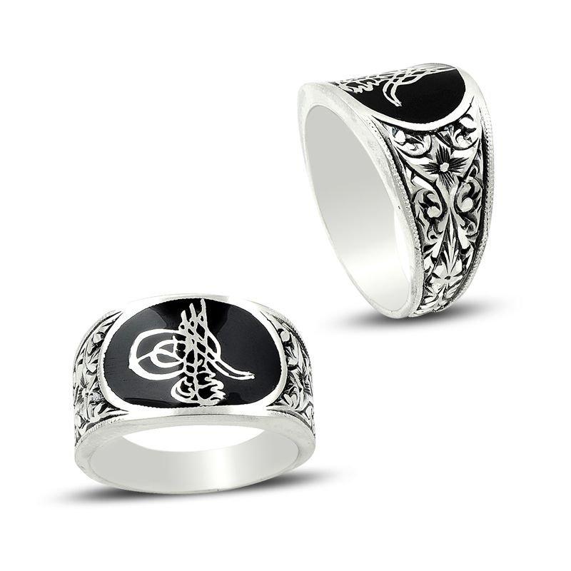 Erzurum El İşi Mineli Gümüş Tuğra Tasarım Yüzük