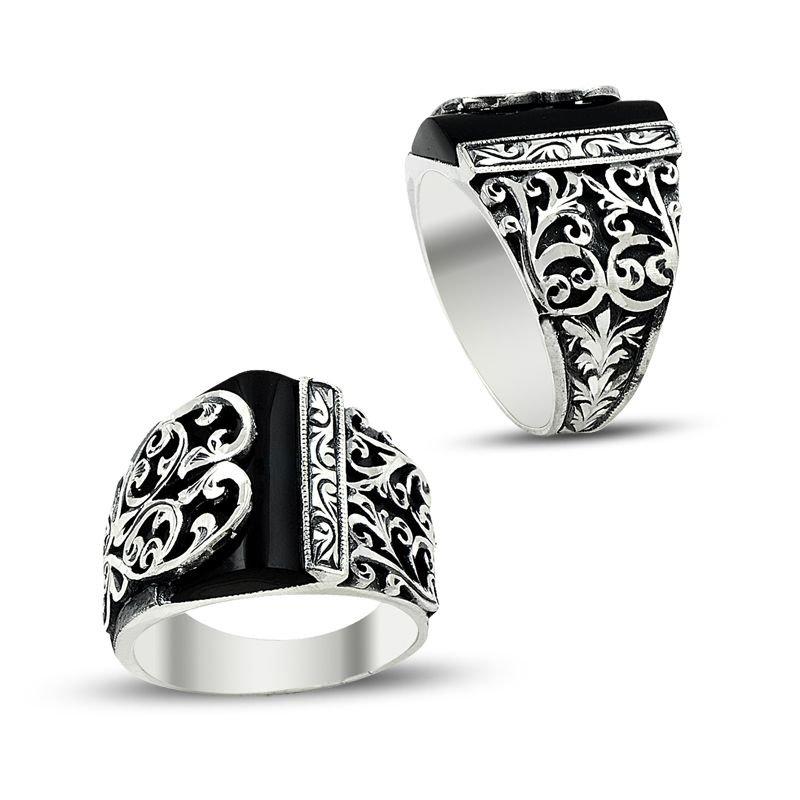 Erzurum El İşi Oniks Taşlı 925 Ayar Gümüş Yüzük