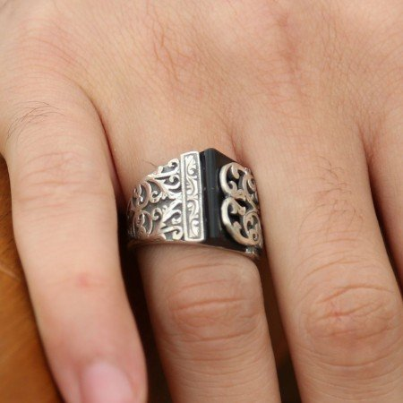 Erzurum El İşi Oniks Taşlı 925 Ayar Gümüş Yüzük - Thumbnail