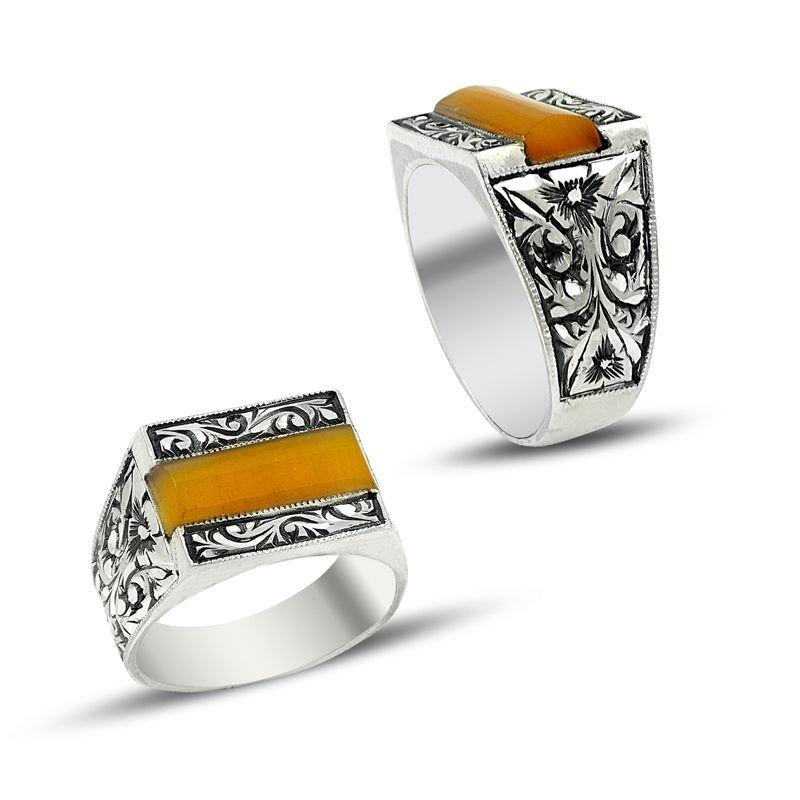 Erzurum El İşi Sarı Sıkma Kehribarlı Gümüş Yüzük