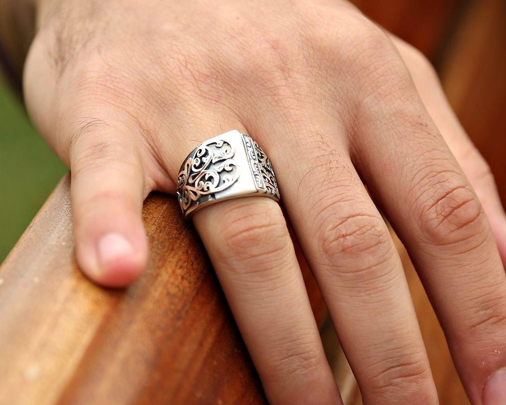 Erzurum El İşi Sedef Taşlı 925 Ayar Gümüş Yüzük (model 2)