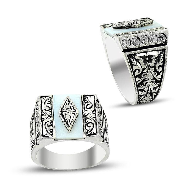 Erzurum El İşi Sedef Taşlı 925 Ayar Gümüş Yüzük (model 3)