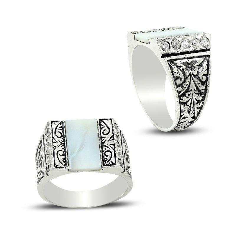 Erzurum El İşi Sedef Zirkon Taşlı 925 Ayar Gümüş Yüzük