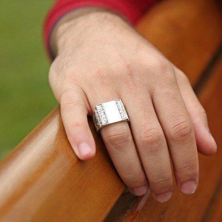 Erzurum El İşi Sedef Zirkon Taşlı 925 Ayar Gümüş Yüzük - Thumbnail