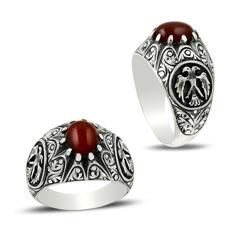 Erzurum El İşi Selçuklu Kartalı Akik Taşlı Gümüş Yüzük