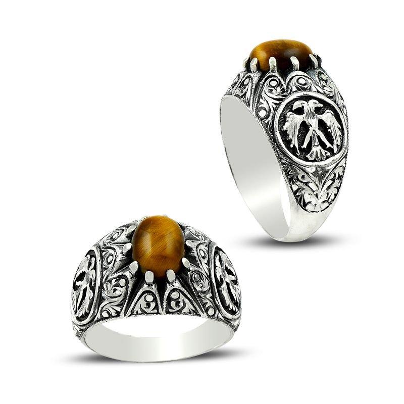 Erzurum El İşi Selçuklu Kartalı Kaplangözü Gümüş Yüzük