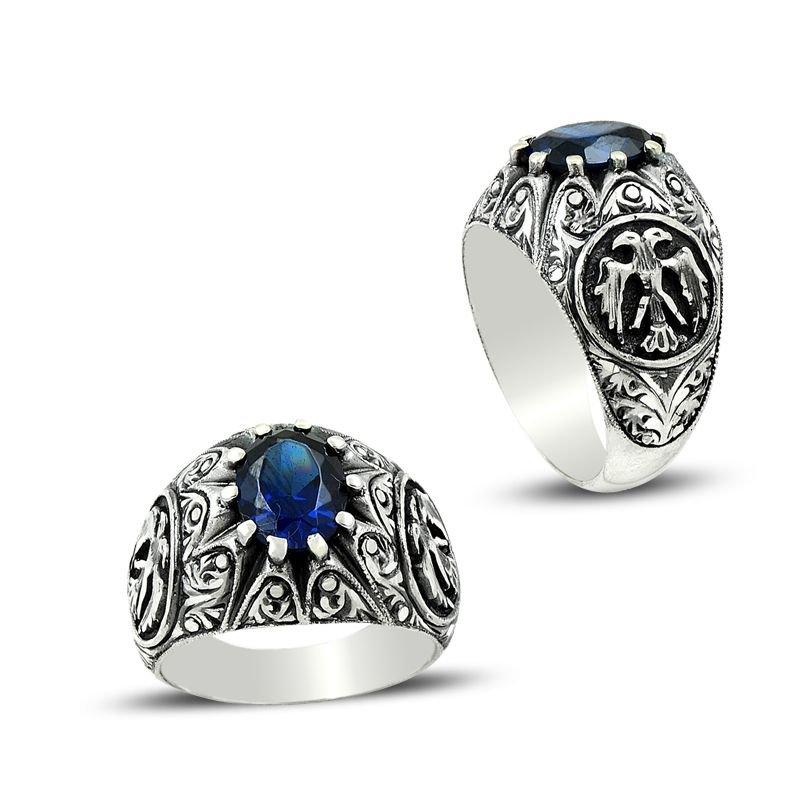 Erzurum El İşi Selçuklu Kartalı Mavi Zirkon Taşlı Gümüş Yüzük