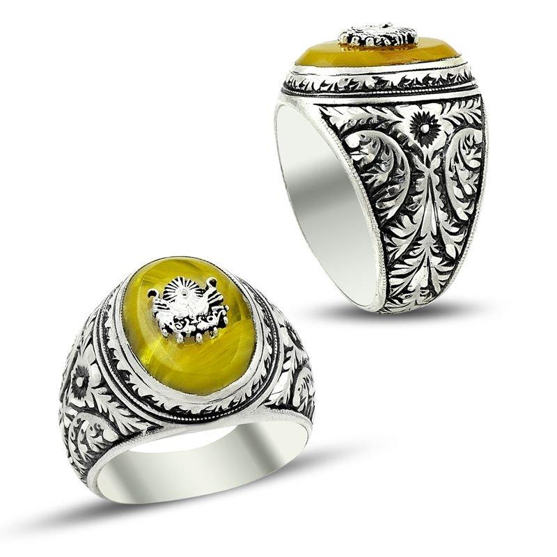 Erzurum El İşi Sıkma Kehribarlı 925 Ayar Gümüş Yüzük