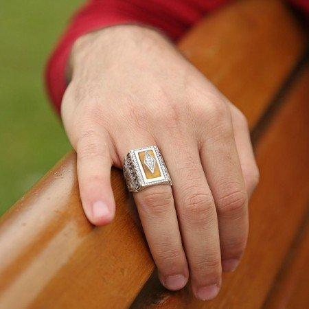 Erzurum El İşi Sıkma Kehribarlı Gümüş Yüzük - Thumbnail