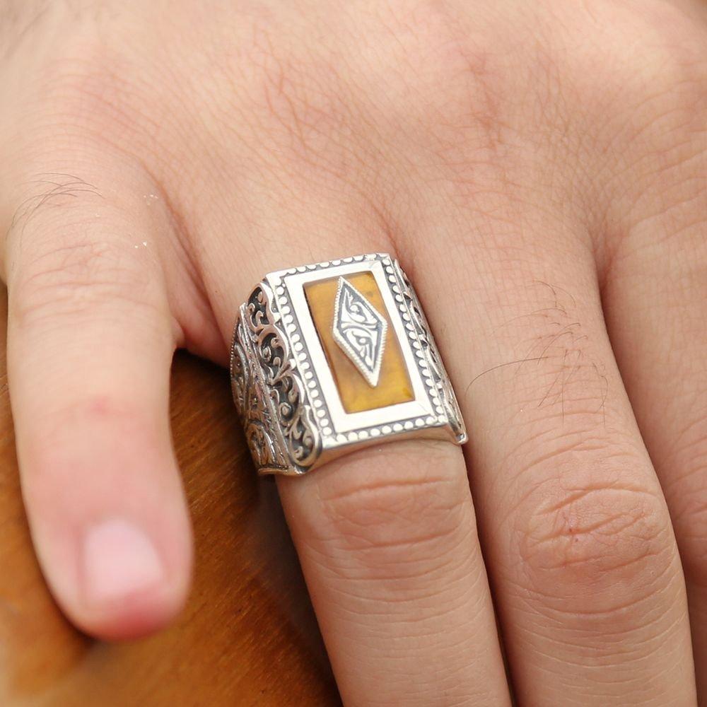 Erzurum El İşi Sıkma Kehribarlı Gümüş Yüzük