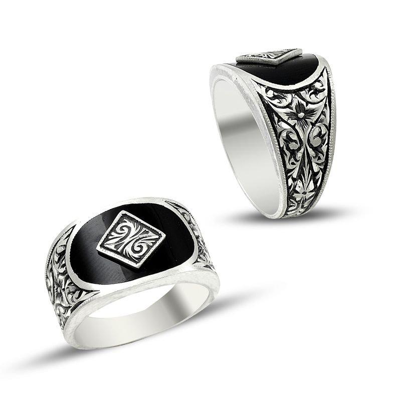 Erzurum El İşi Siyah Mineli Gümüş Yüzük