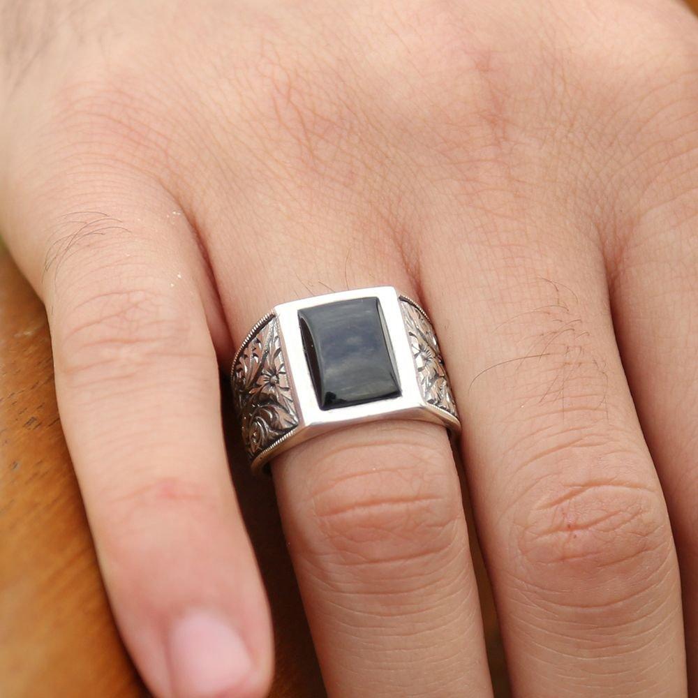 Erzurum El İşi Siyah Mineli Gümüş Yüzük (M-2)