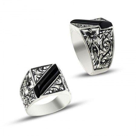 Erzurum El İşi Siyah Mineli Gümüş Yüzük (M-3) - Thumbnail