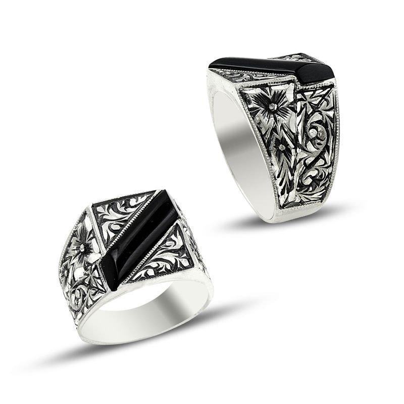 Erzurum El İşi Siyah Mineli Gümüş Yüzük (M-3)