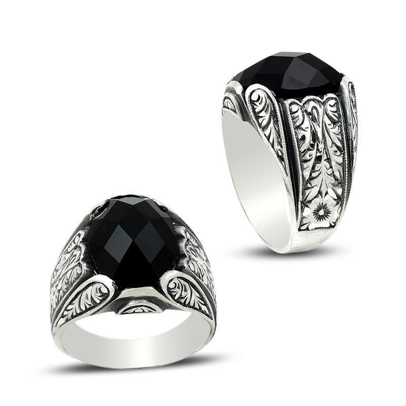 Erzurum El İşi Siyah Zirkon Taşlı Gümüş Yüzük