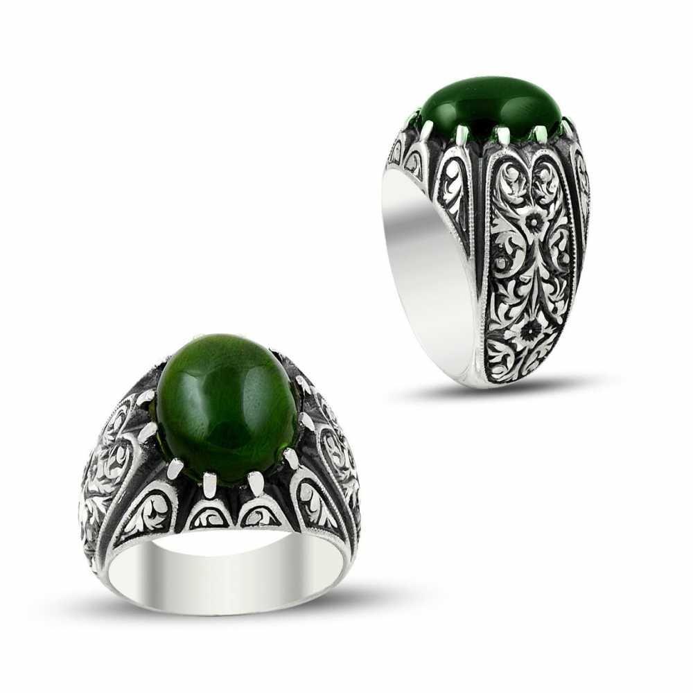 Erzurum El İşi Yeşil Ateş Kehribarlı Gümüş Yüzük
