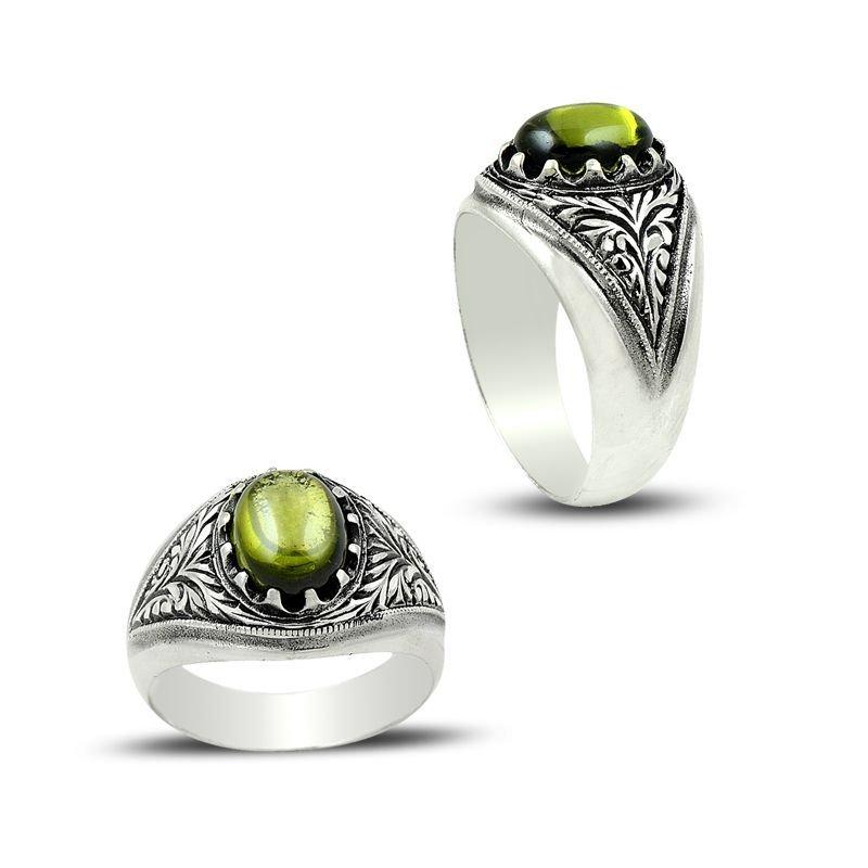 Erzurum El İşi Yeşil Zirkon Taşlı 925 Ayar Gümüş Yüzük