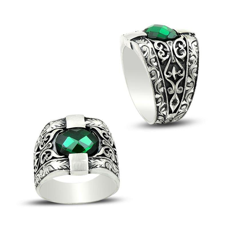 Erzurum El İşi Yeşil Zirkon Taşlı Gümüş Yüzük
