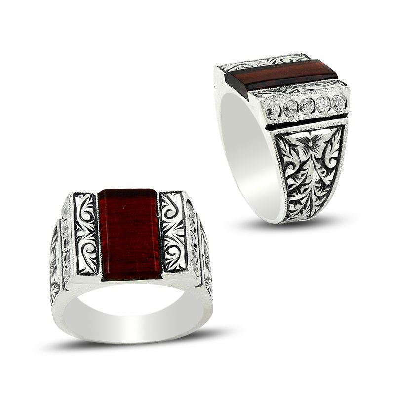 Erzurum El İşi Zirkon Taşlı Gümüş Yüzük