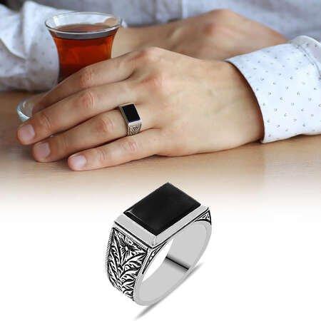 Erzurum Kalem İşlemeli Dörtgen Siyah Oniks Taşlı 925 Ayar Gümüş Erkek Yüzük - Thumbnail
