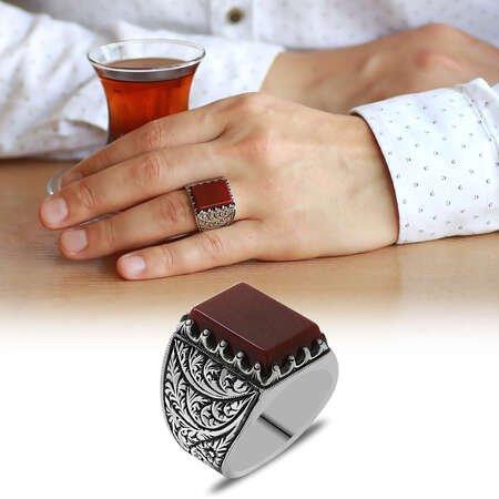 Erzurum Kalem İşlemeli Kırmızı Akik Taşlı 925 Ayar Gümüş Erkek Yüzük - Thumbnail