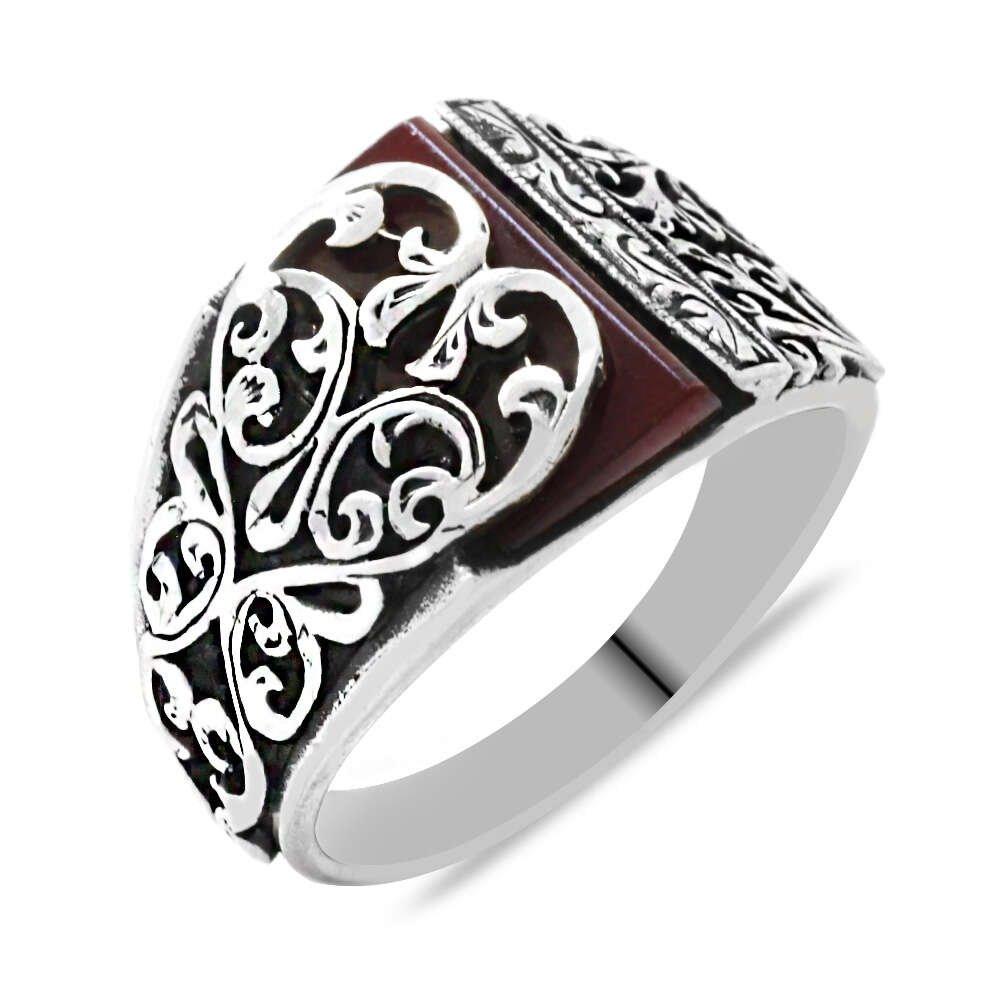 Erzurum Kalem İşlemeli Kırmızı Sıkma Kehribar Taşlı 925 Ayar Gümüş Erkek Yüzük