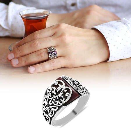 Erzurum Kalem İşlemeli Kırmızı Sıkma Kehribar Taşlı 925 Ayar Gümüş Erkek Yüzük - Thumbnail