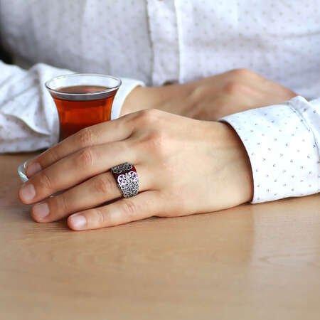 Erzurum Kalem İşlemeli Kırmızı Sıkma Kehribar Taşlı 925 Ayar Gümüş Erkek Yüzük/2 - Thumbnail