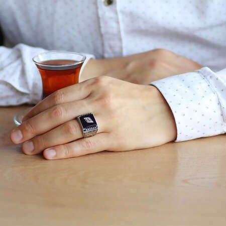 Erzurum Kalem İşlemeli Kırmızı Sıkma Kehribar Taşlı 925 Ayar Gümüş Erkek Yüzük/3 - Thumbnail