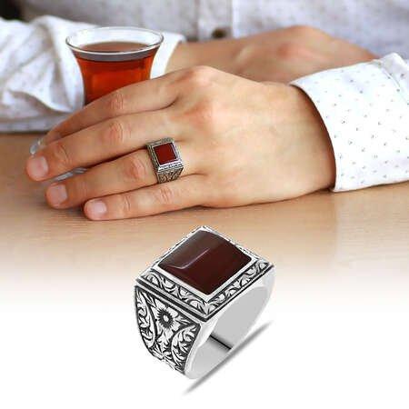 Erzurum Kalem İşlemeli Kırmızı Sıkma Kehribar Taşlı 925 Ayar Gümüş Erkek Yüzük/4 - Thumbnail