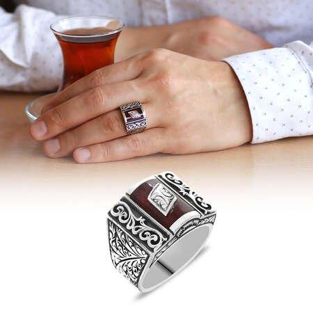 Erzurum Kalem İşlemeli Kırmızı Sıkma Kehribar Taşlı 925 Ayar Gümüş Erkek Yüzük/5 - Thumbnail