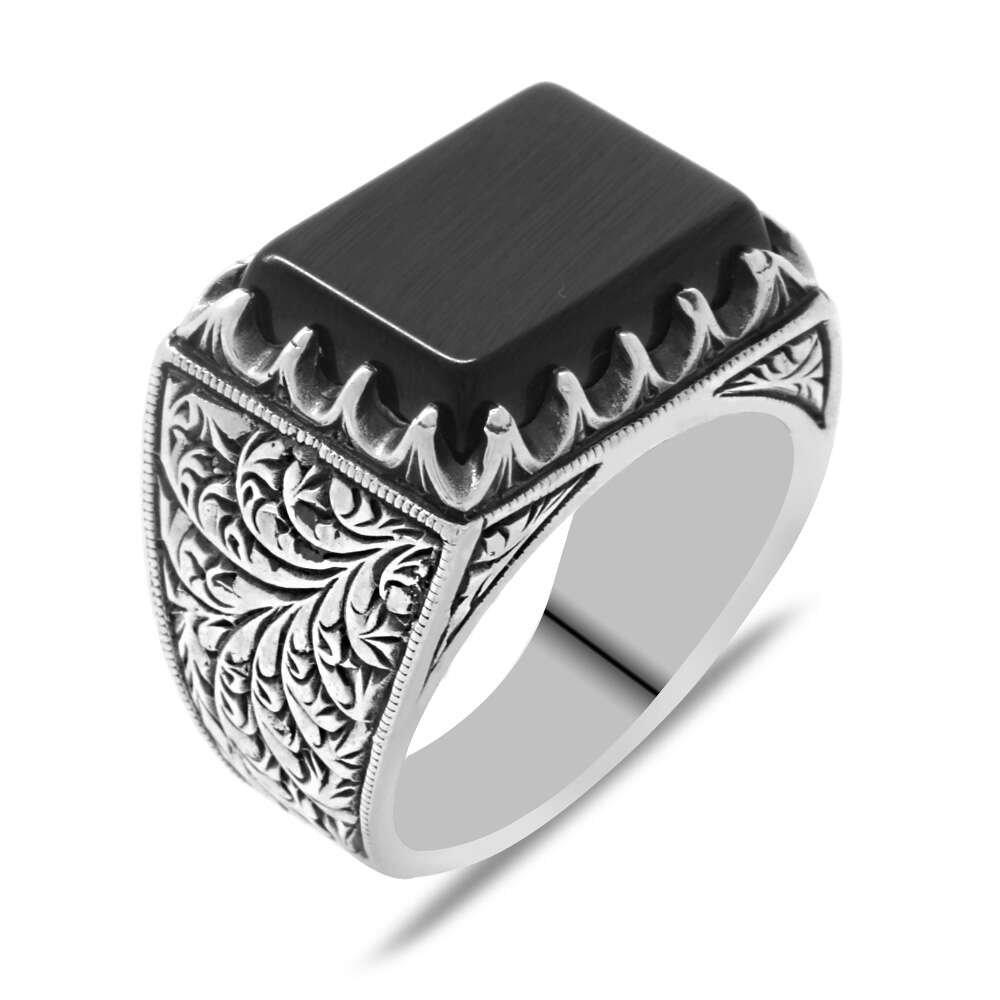 Erzurum Kalem İşlemeli Köşeli Siyah Oniks Taşlı 925 Ayar Gümüş Erkek Yüzük