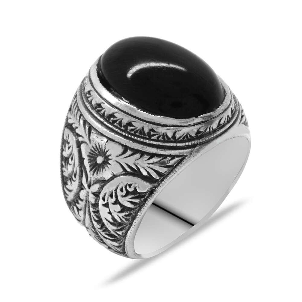 Erzurum Kalem İşlemeli Oval Siyah Oniks Taşlı 925 Ayar Gümüş Erkek Yüzük