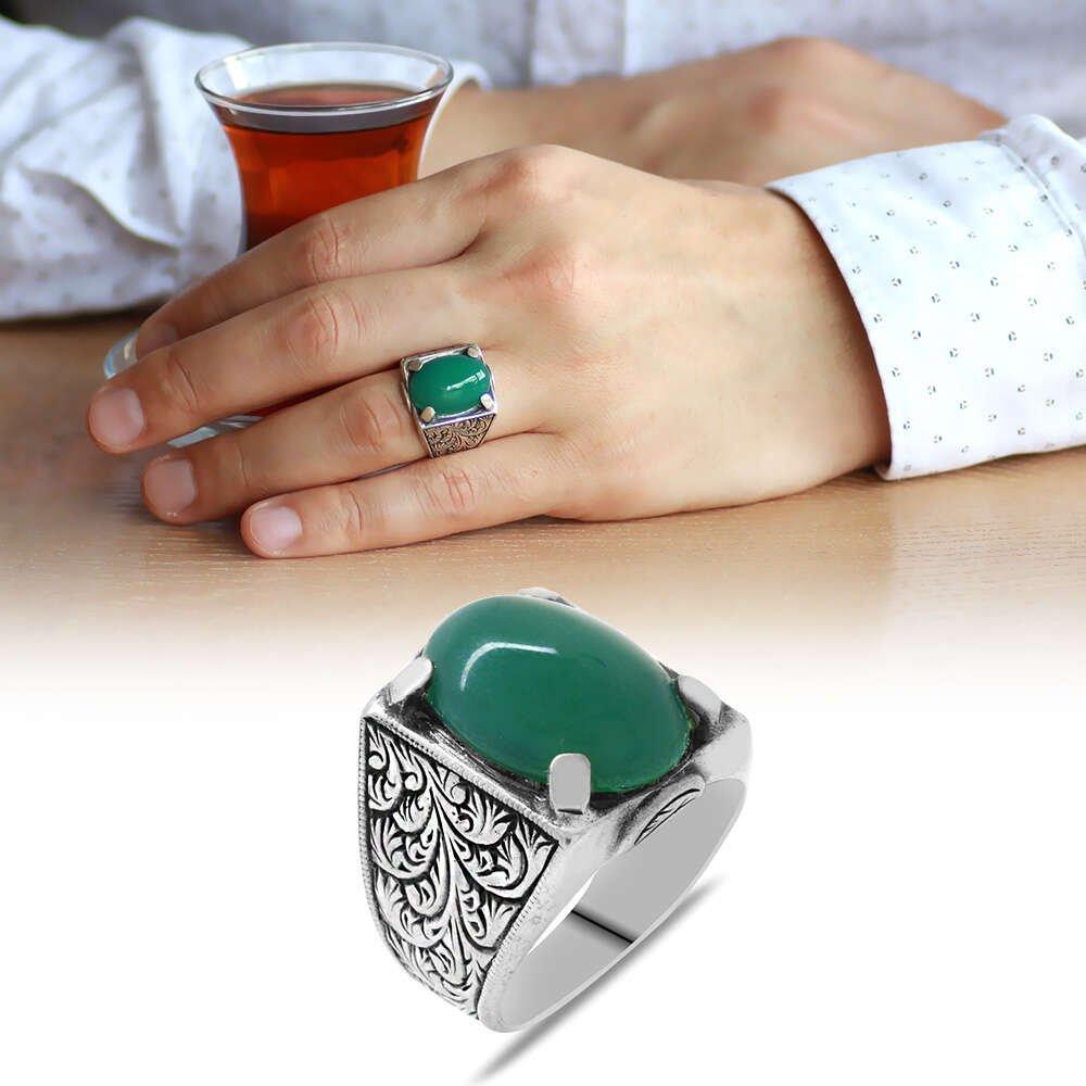 Erzurum Kalem İşlemeli Oval Yeşil Akik Taşlı 925 Ayar Gümüş Erkek Yüzük