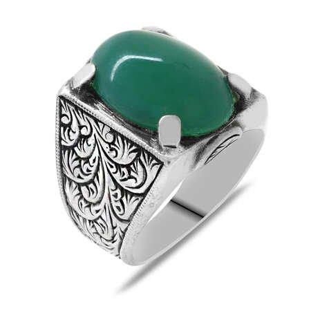 Erzurum Kalem İşlemeli Oval Yeşil Akik Taşlı 925 Ayar Gümüş Erkek Yüzük - Thumbnail
