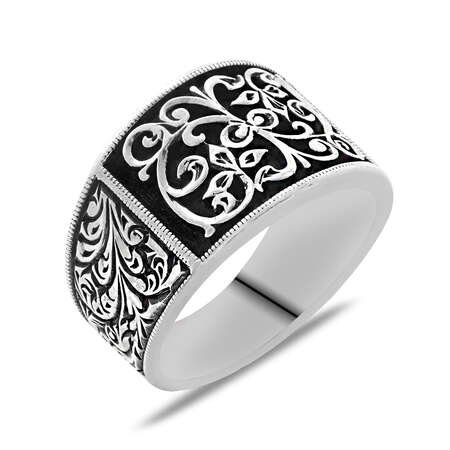 Erzurum Kalem İşlemeli Siyah Mineli 925 Ayar Gümüş Erkek Yüzük/1 - Thumbnail