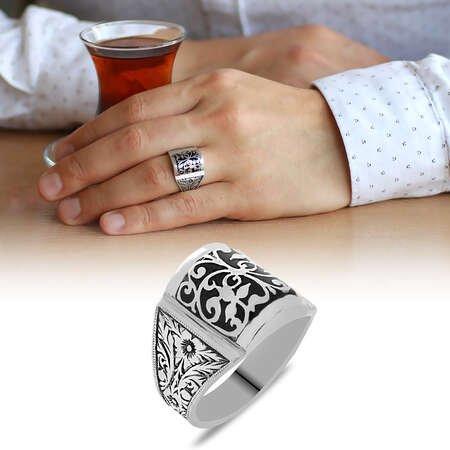 Erzurum Kalem İşlemeli Siyah Mineli 925 Ayar Gümüş Erkek Yüzük/2 - Thumbnail