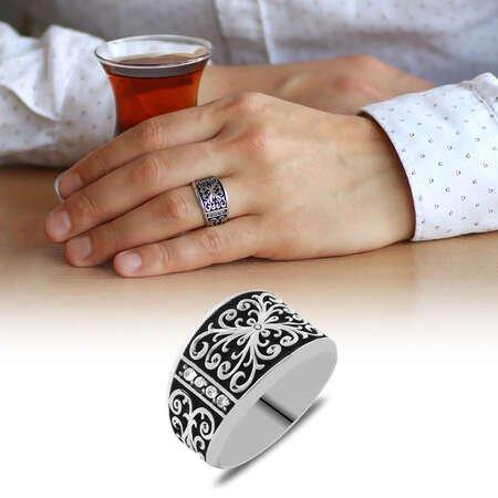 Erzurum Kalem İşlemeli Siyah Mineli 925 Ayar Gümüş Erkek Yüzük/3 - Thumbnail