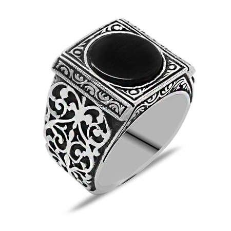 Erzurum Kalem İşlemeli Siyah Oniks Taşlı 925 Ayar Gümüş Erkek Yüzük - Thumbnail
