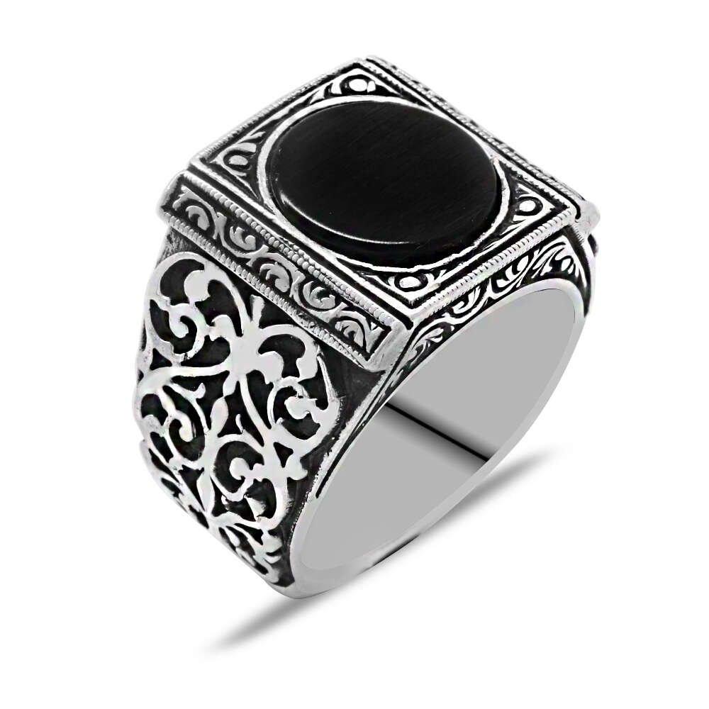 Erzurum Kalem İşlemeli Siyah Oniks Taşlı 925 Ayar Gümüş Erkek Yüzük