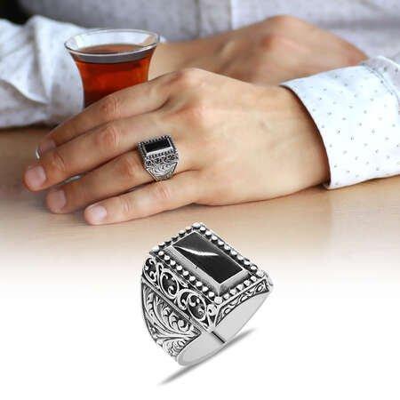 Erzurum Kalem İşlemeli Siyah Sıkma Kehribar Taşlı 925 Ayar Gümüş Erkek Yüzük - Thumbnail