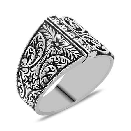 Erzurum Kalem İşlemeli Zarif Zirkon Taşlı 925 Ayar Gümüş Erkek Yüzük - Thumbnail
